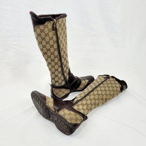 Gucci Beige Monogram Canvas Boots